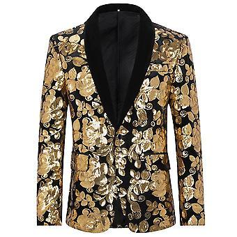 Allthemen Men's Sequins Blazer Dance Banquet Shawl Collar Suit Giacca