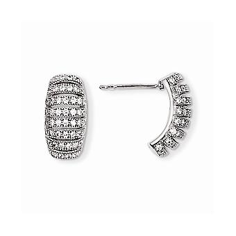 925 Sterling Silver Rhodium-plated and Cubic Zirconia Brilliant Embers Post Earrings