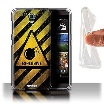 STUFF4 Gel/TPU Case/Cover for HTC Desire 820 Mini/Explosive/Hazard Warning Signs