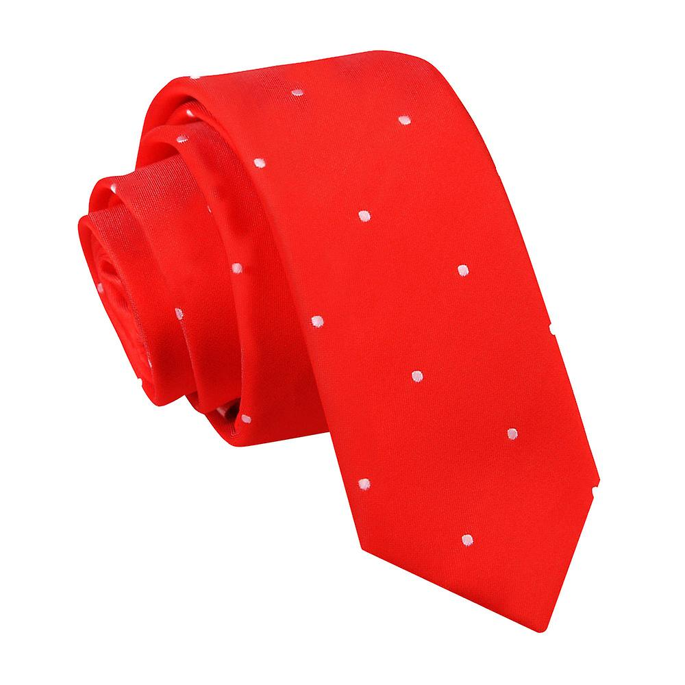 Pin Dot Red Skinny Tie