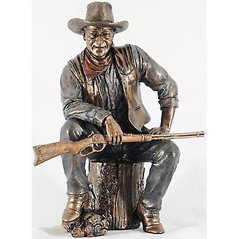 John Wayne Sitting On Log Bronze Statue - 51284
