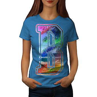 Letter B Beach Fashion Women Royal Blue T-shirt | Wellcoda