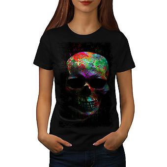 Wellcoda | Verf Skull Mask Art Womens zwart T-shirt