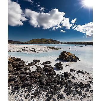 Silica deposits in water by The Svartsengi Geothermal Power Plant near the Blue Lagoon bathing pools Iceland Poster Print
