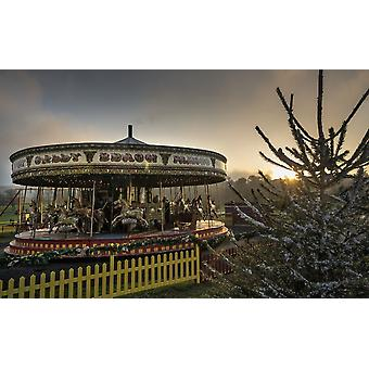Carousel at sunset Beamish Durham England PosterPrint