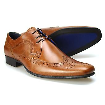Nastro rosso Leather Brogue scarpe Louth Tan