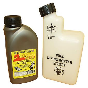 1 Litre Of 2 Stroke Oil & Fuel Petrol Mixing Bottle For Chainsaw & Strimmer 25:1 40:1 50:1