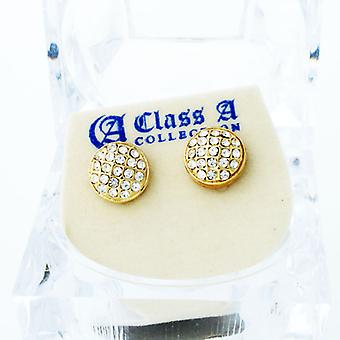 Gold bling iced out earrings - ROUND DOME 10 mm