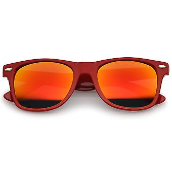 Retro Large Square Colored Mirror Lens Horn Rimmed Sunglasses 55mm
