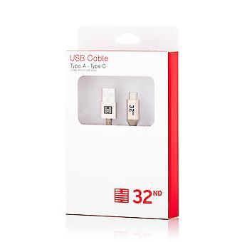 32nd mærkevarer flettet Nylon USB Type C til USB kabel 1m - guld