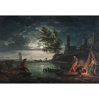 Claude Joseph Vernet - The four times of day 'Night' Poster Print Giclee
