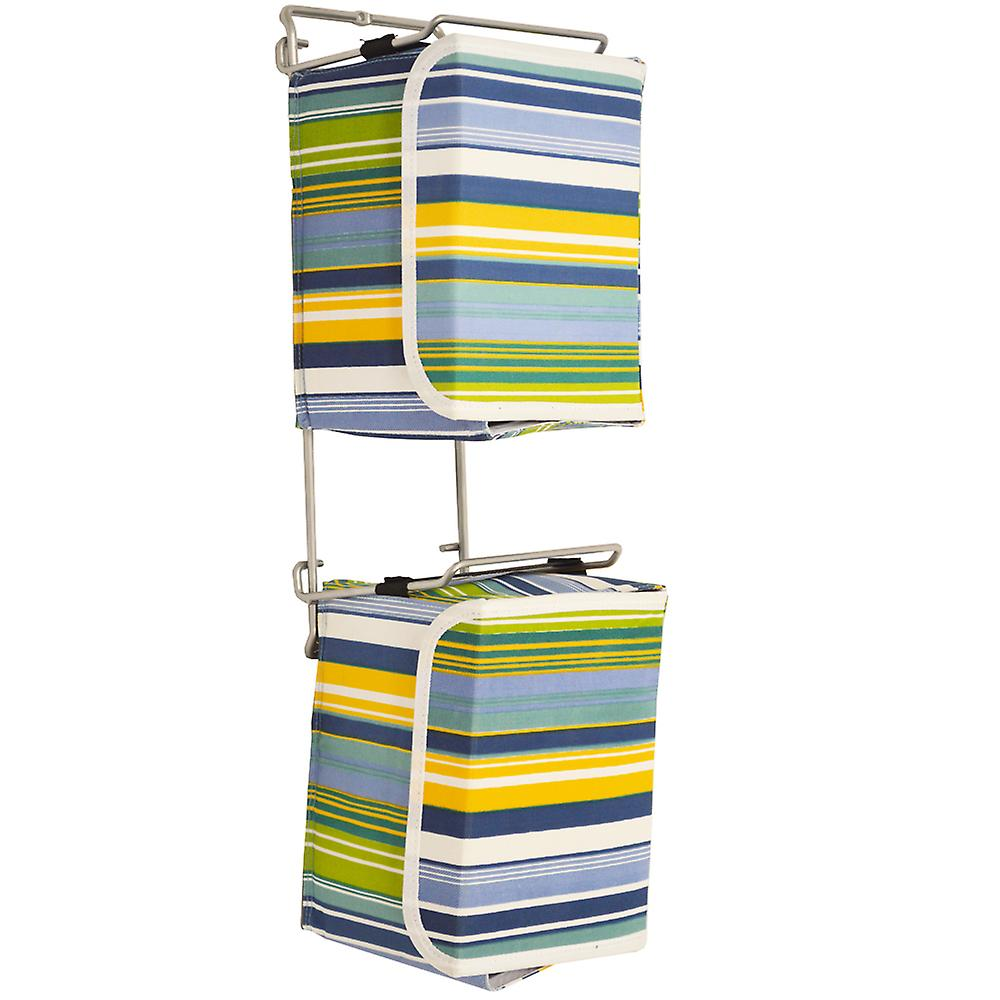 Stripe - 2 Wall Mounted Fabric Storage Boxes For 40 Dvd / Toy / Baby Change - Blue / Green