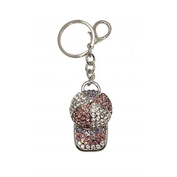 W.A.T Sparkling Pink Crystal Baseball Cap Key Ring