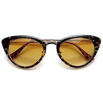 Womens Mod Fashion metalen tempel Retro Cat Eye zonnebril