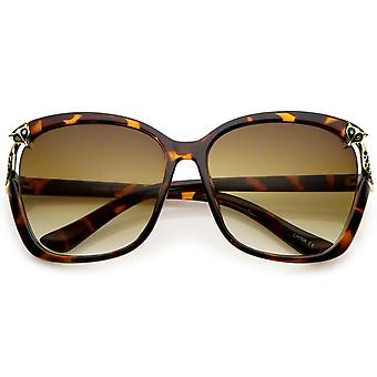 Women's Oversize Square Sunglasses With Metal Fox Accent Cutout 60mm