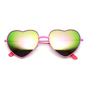 Womens Color Coated Full Metal Frame Color Mirror Heart Shape Sunglasses