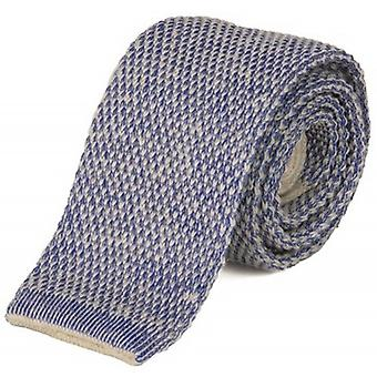 40 Colori Double Threaded Wool and Cotton Knitted Tie - Cream/China Blue