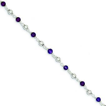 Sterling Zilver 7 Inch gepolijst Amethyst kralen armband - springslot