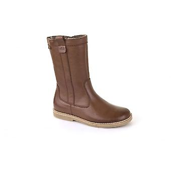Froddo Girls Brown Leather Wool Lined Waterproof Mid Calf Boots