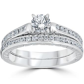 1ct Vintage Diamond Engagement Ring Set 14K White Gold With Matching Band