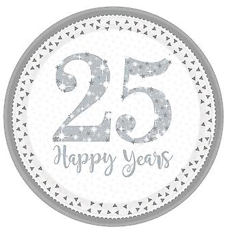 Amscan Silver Anniversary 23cm Plates (Pack Of 8)