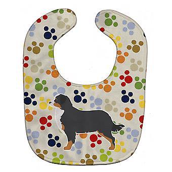 Carolines Treasures  BB6324BIB Bernese Mountain Dog Pawprints Baby Bib