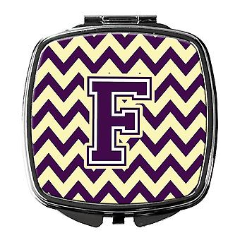 Carolines Treasures  CJ1058-FSCM Letter F Chevron Purple and Gold Compact Mirror