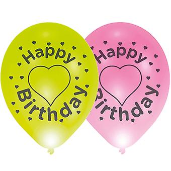 LED balloons of happy birthday of light 4 piece 28 cm wide, balloons party decoration 24 hour burn time