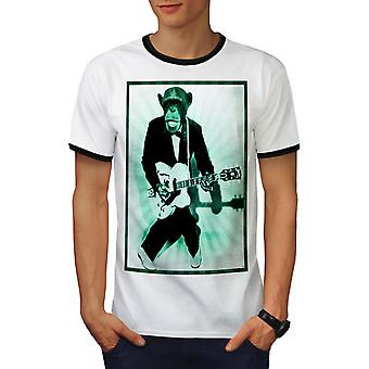 Mokey Guitar Music Men White / BlackRinger T-shirt | Wellcoda