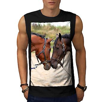 Horse Couple Photo Men BlackSleeveless T-shirt | Wellcoda
