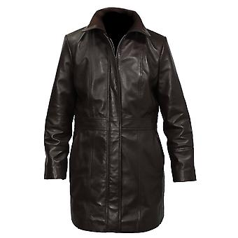 Classy Womens Brown Long Leather Coat