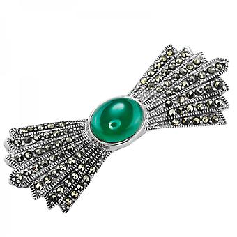 Ladies Shipton And Co Silver And Green Agate Brooch TFE261GAMM