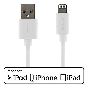 DELTACO USB sync-/laddarkabel to iPad, iPhone and iPod, MFi, white