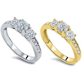 2,00 3 CT - piedra diamante anillo disponible en color blanco de 14K y oro amarillo