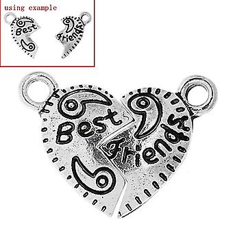 Packet 5 x Antique Silver Tibetan 17mm Best Friends Charm/Pendant ZX04830
