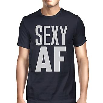 Sexy AF Mens Navy Funny Exercise Tee Short Sleeve T-Shirt For Gym