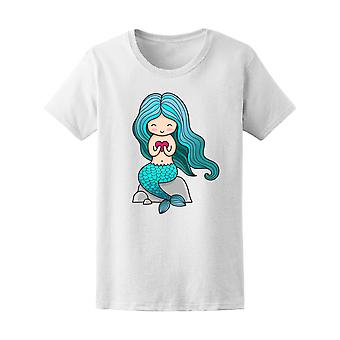Bright Blue Mermaid With Heart Tee Women's -Image by Shutterstock