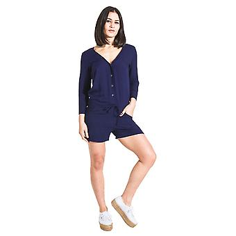 Ladies Playsuit with Long Sleeve - Blue All-in-one Shorts-suit
