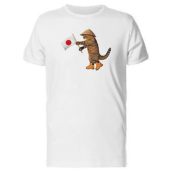A Japanese Cat Holding Flag Tee Men's -Image by Shutterstock
