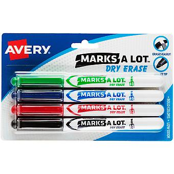 Avery Marks-A-Lot Pen-Style Dry Erase Markers 4/Pkg-Assorted Colors, Bullet Tip