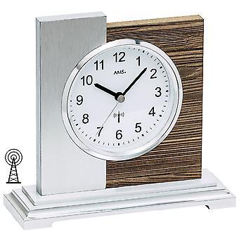 AMS 5149 table clock radio silver modern wood Walnut colours with aluminium