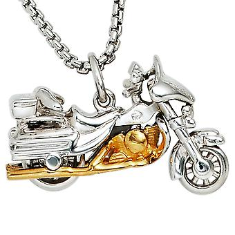Chain pendant motorcycle 925 sterling silver rhodium plated partly gold plated