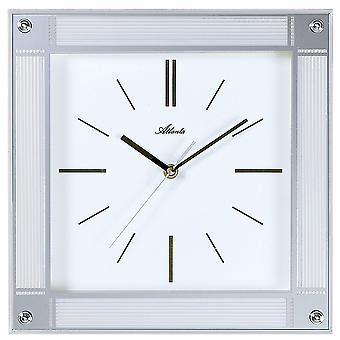 Atlanta 4349 wall clock quartz analog silver square quietly without ticking