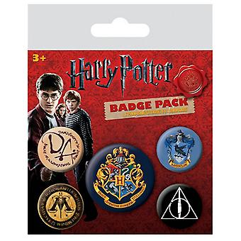 Harry Potter  Badge Pack Hogwarts logo new Official 5 X button