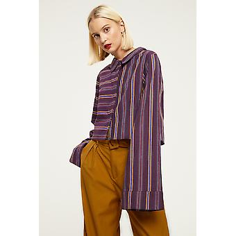 Cubic Stripe Shirt With Flute Sleeves