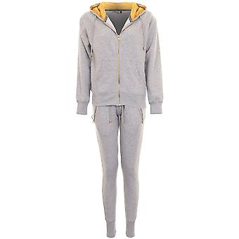 Ladies Luxury Fleece Gold Insert Zip Up Hoodie Joggers Tracksuit 2 Piece Set