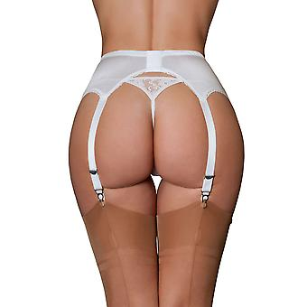 Nylon Dreams NDL7 Women's Black & White Garter Belt 6 Strap Suspender Belt