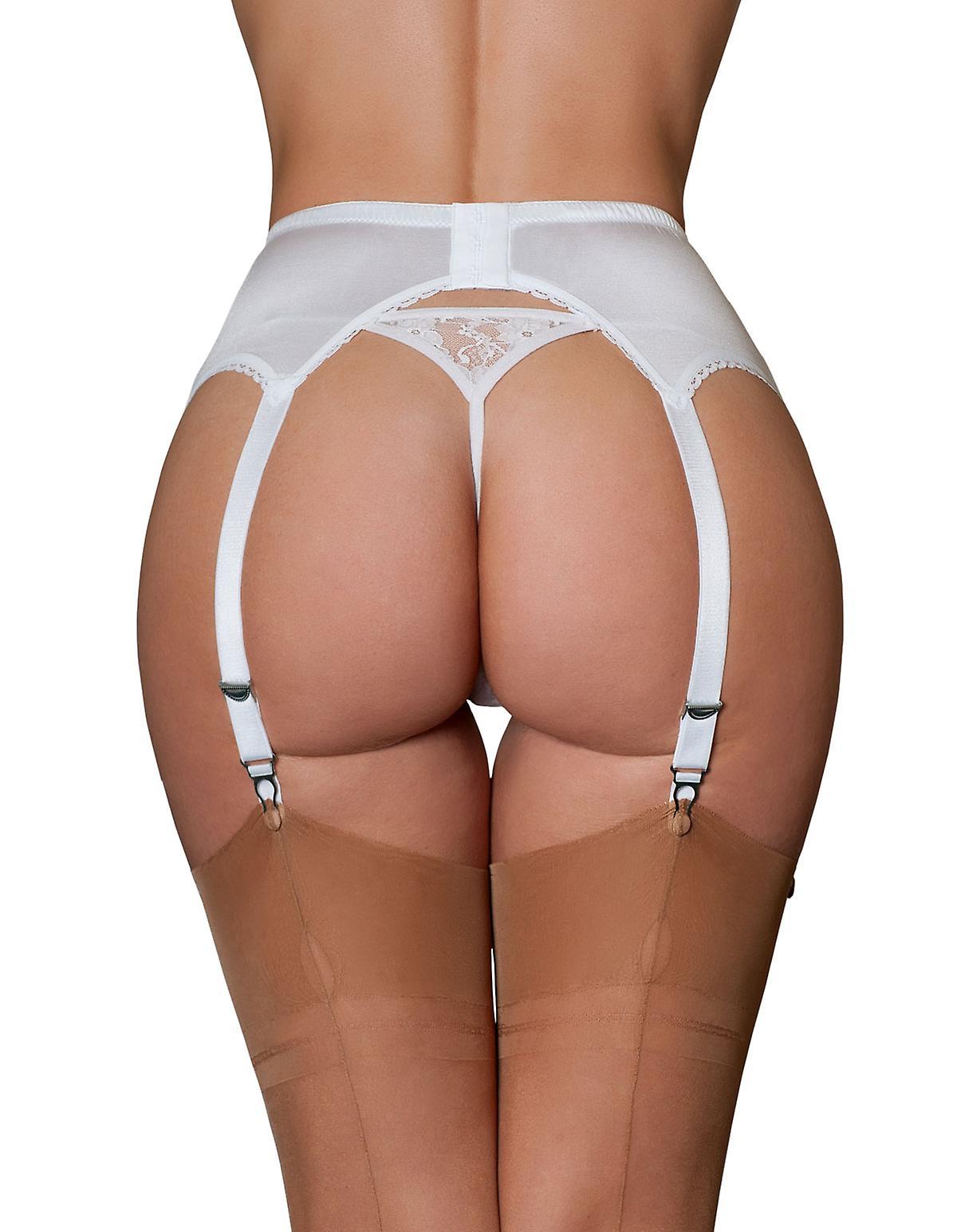 Nylon Dreams NDL7 Women's Black & White Garter Belt 6 Strap Suspender Belt