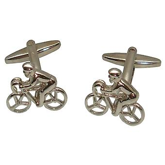 Bassin and Brown Cycling Cufflinks - Silver