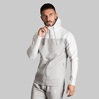 Gym King Capo Panel Poly Tracksuit Top Grey Marl/White
